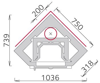 Corner fireplaces corner wood burning fireplace dimensions for Fireplace dimensions plan